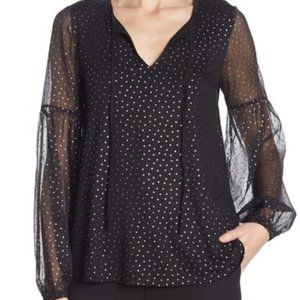 BODEN NWT Hazel Metallic Foil Polka Dot Split Neck